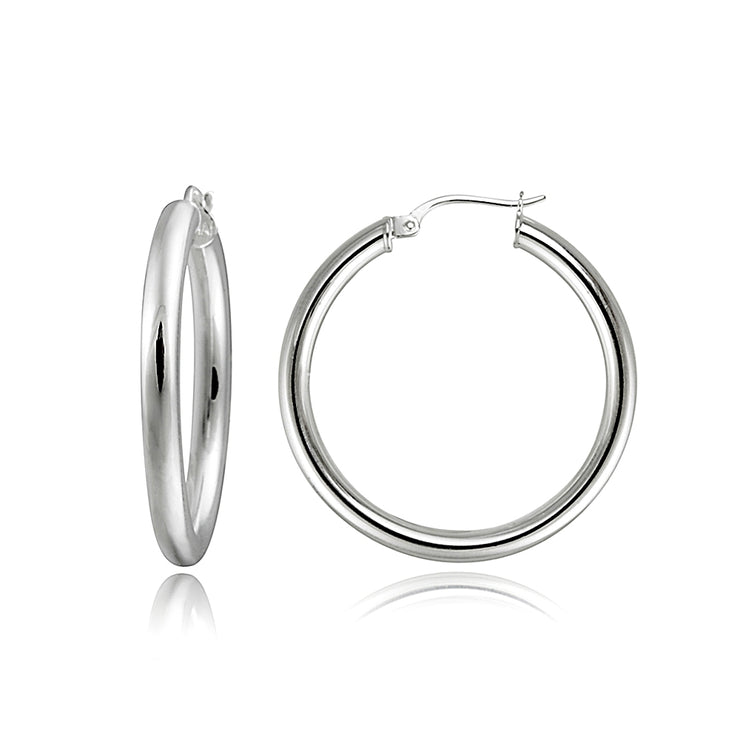 Sterling Silver 3mm High Polished Round Hoop Earrings, 30mm