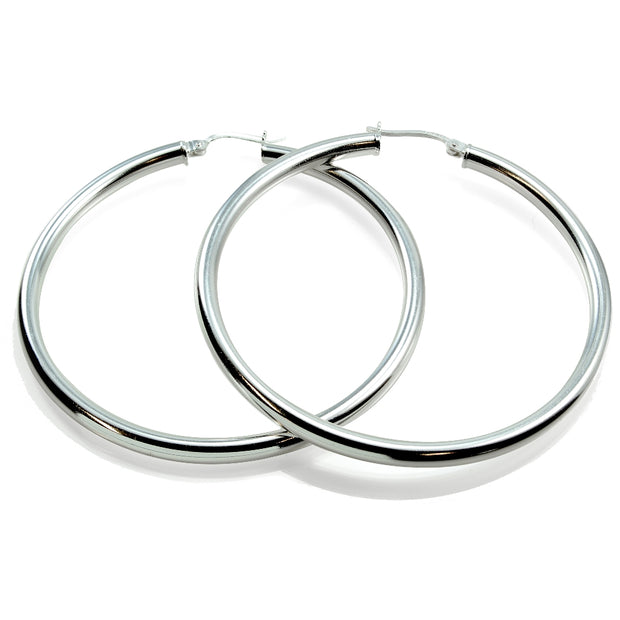 Sterling Silver 3mm High Polished Round Hoop Earrings, 50mm