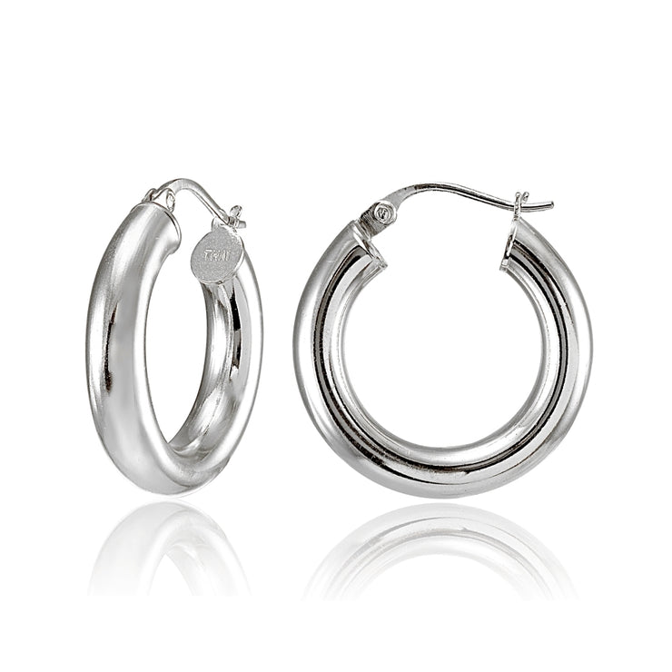Sterling Silver 4mm High Polished Round Hoop Earrings, 25mm