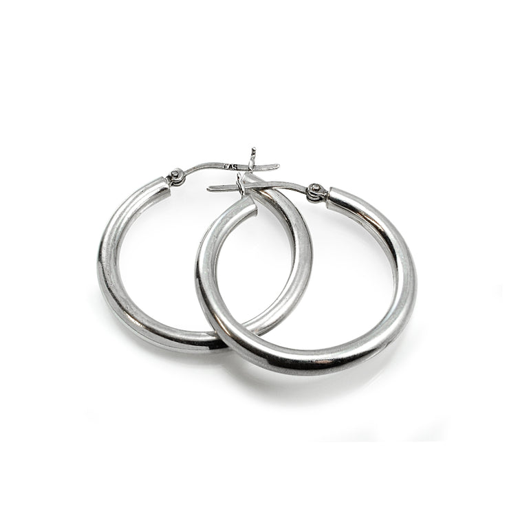 Sterling Silver 4mm High Polished Round Hoop Earrings, 30mm