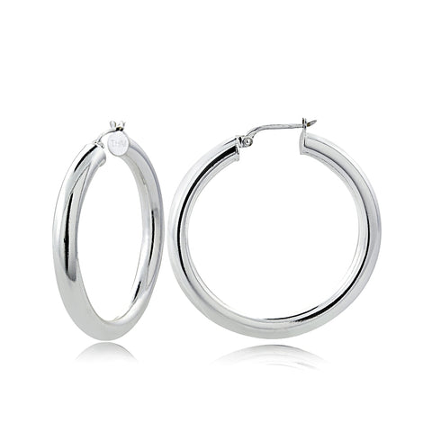 Sterling Silver 4mm High Polished Round Hoop Earrings, 35mm