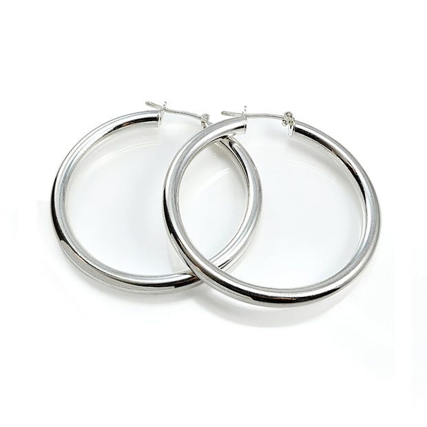 Sterling Silver High Polished Round Hoop Earrings, 35mm