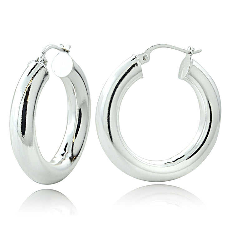 Sterling Silver 5mm High Polished Round Hoop Earrings, 30mm