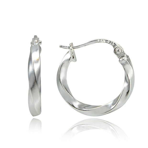 Sterling Silver Twist Round Hoop Earrings, 15mm
