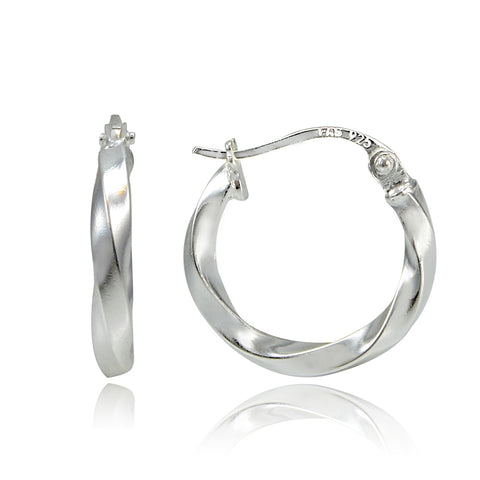 Sterling Silver 2mm Twist Round Hoop Earrings, 15mm