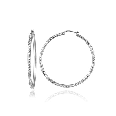 Sterling Silver 2mm Diamond Cut Round Hoop Earrings, 20mm