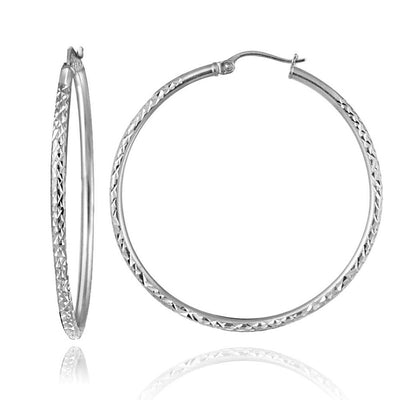 Sterling Silver 2mm Diamond Cut Round Hoop Earrings, 45mm
