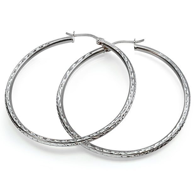 Sterling Silver Diamond Cut Round Hoop Earrings, 50mm