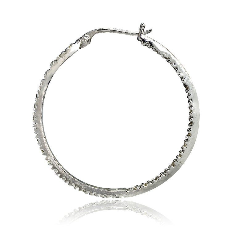 Sterling Silver Cubic Zirconia Inside Out 30mm Round Hoop Earrings