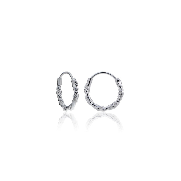 Sterling Silver 1.8mm Twist Endless Hoop Earrings, 10mm
