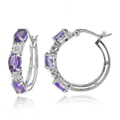 Sterling Silver Oval African Amethyst and Diamond Accent Hoop Earrings