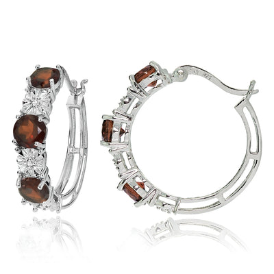 Sterling Silver Round African Garnet and Diamond Accent Hoop Earrings