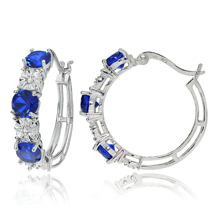 Sterling Silver Round Created Blue Sapphire and Diamond Accent Hoop Earrings