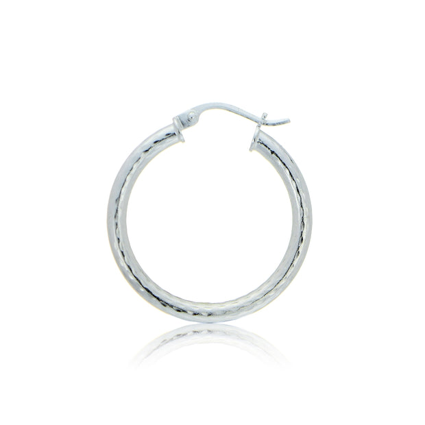 Sterling Silver 2.5mm Diamond Cut Polished Round Hoop Earrings, 20mm