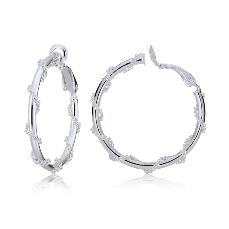 Sterling Silver Chain Wrap Clip-On Hoop Earrings, 25mm