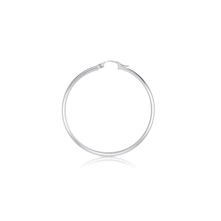 Sterling Silver Half Round Design High Polished Hoop Earrings, 25