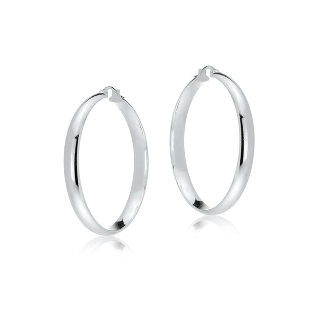 Sterling Silver Half Round Design High Polished Hoop Earrings, 30mm