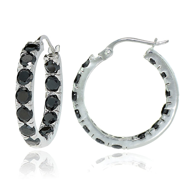 Sterling Silver Black Cubic Zirconia Inside Out 3x25 mm Round Hoop Earrings