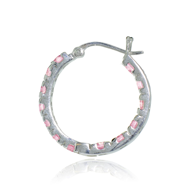 Sterling Silver Light Pink Cubic Zirconia Inside Out 3x25 mm Round Hoop Earrings