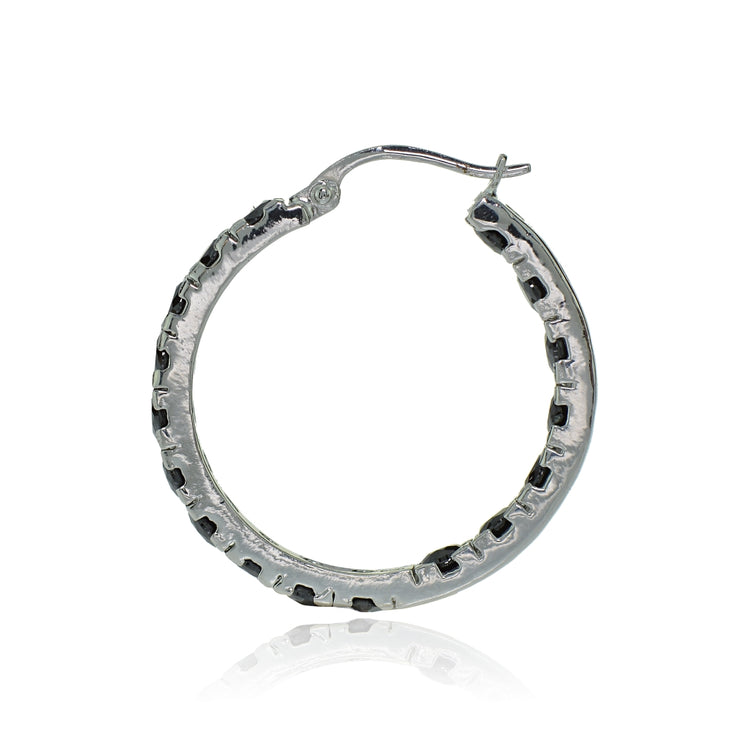 Sterling Silver Black Cubic Zirconia Inside Out 3x20 mm Round Hoop Earrings