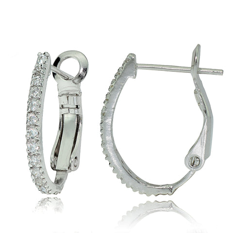 Sterling Silver Cubic Zirconia Oval J-Hoop Huggie Earrings, 18m