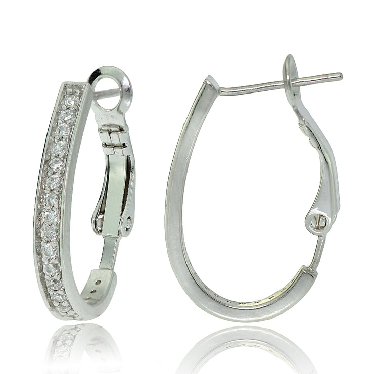 Sterling Silver Cubic Zirconia Oval J-Hoop Earrings, 20mm