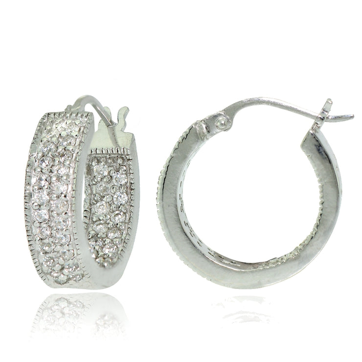 Sterling Silver Cubic Zirconia Two-Row Inside-Out Huggie Hoop Earrings