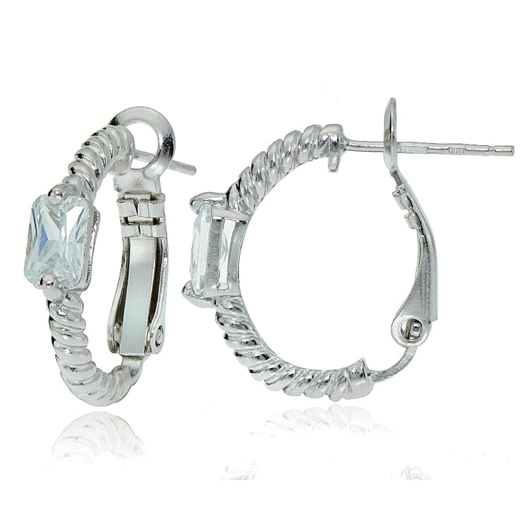 Sterling Silver Cubic Zirconia Rectangle Oval J-Hoop Earrings