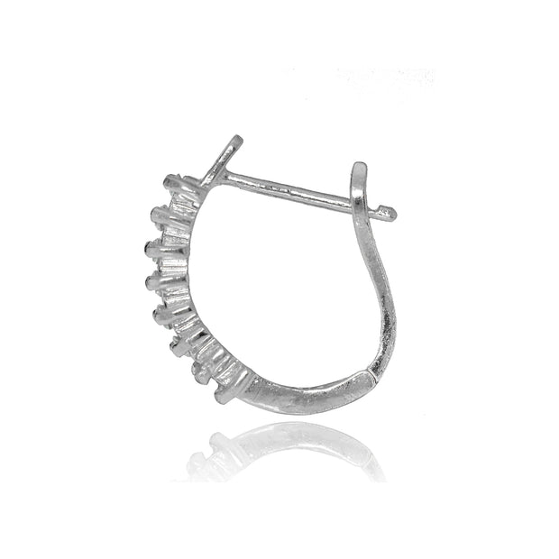 Sterling Silver Cubic Zirconia Huggie Huggie J-Hoop Earrings, 12mm