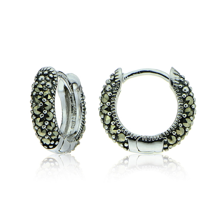 Sterling Silver Marcasite Huggie Hoop Earrings