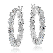 Sterling Silver Round Cubic Zirconia 22mm Hoop Earrings