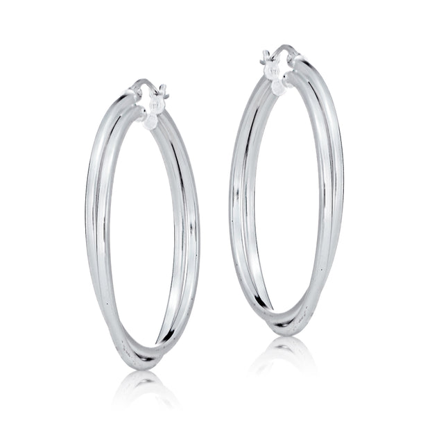 Sterling Silver Square-Tube Double Twisted 47mm Round Hoop Earrings