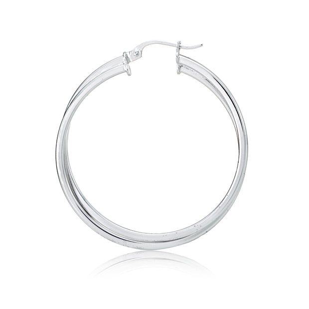 Gold Flash Sterling Silver Square-Tube Double Twisted Round Hoop Earrings