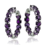 Sterling Silver African Amethyst 5mm Hoop Earrings