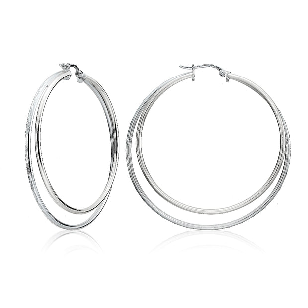Sterling Silver Double Circle Square-Tube Diamond Cut 40mm Round Hoop Earrings