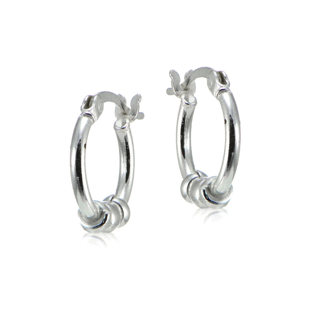 Sterling Silver 14mm Beaded Round Small Hoop Earrings for Girls and Women