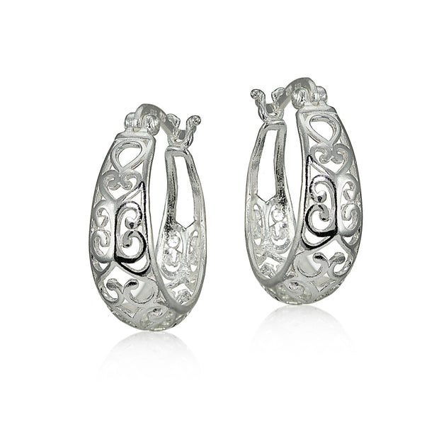 Sterling Silver High Polished Heart Filigree Oval Hoop Earrings, 20mm