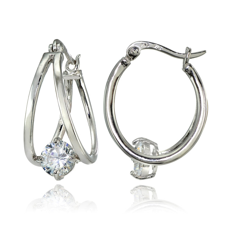 Sterling Silver Oval Double Hoop Cubic Zirconia Earrings