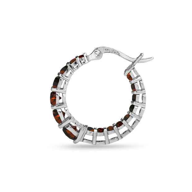 Sterling Silver Garnet Journey Inside Out Round Hoop Earrings