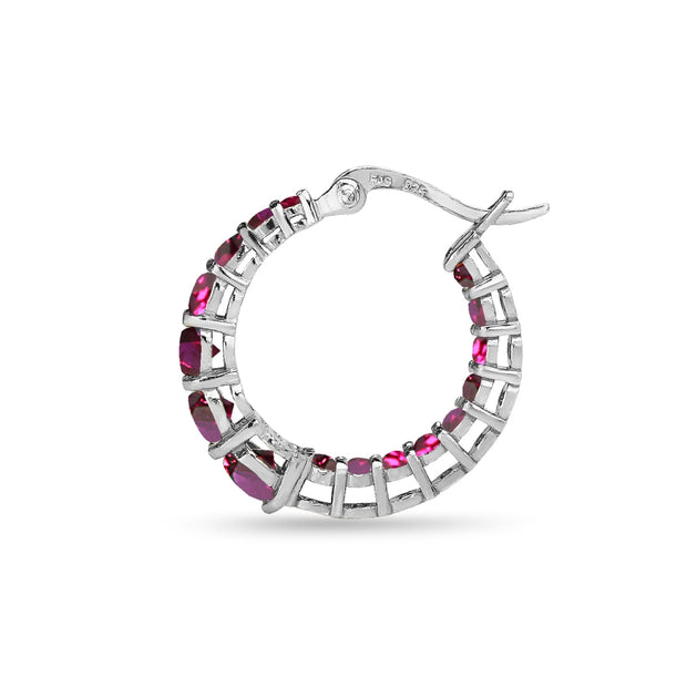 Sterling Silver Created Ruby Journey Inside Out Round Hoop Earrings