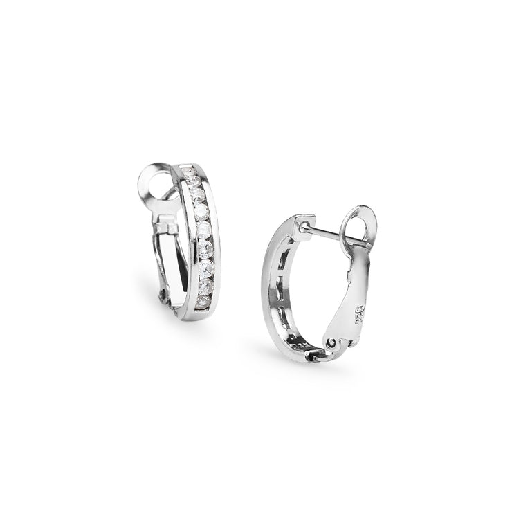 Sterling Silver Cubic Zirconia 18mm Clutchless Channel Set Oval Half Hoop Earrings