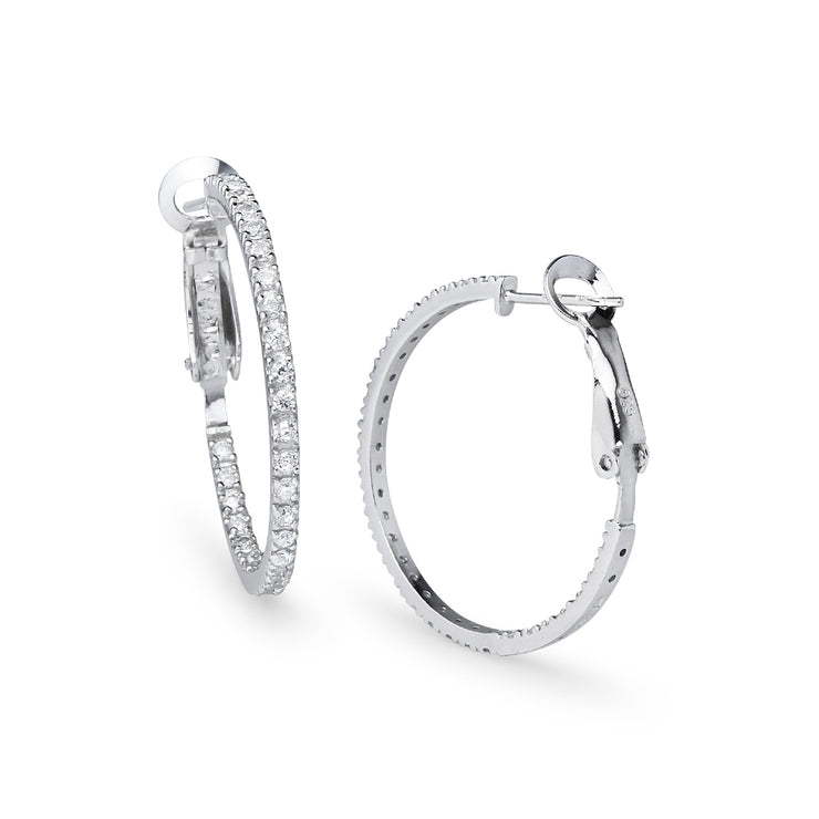 Sterling Silver Cubic Zirconia Inside Out 2x30mm Clutchless Round Hoop Earrings