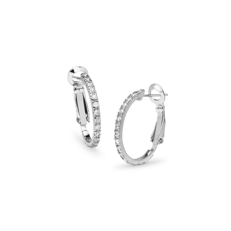 Sterling Silver Cubic Zirconia Inside Out 2x20mm Clutchless Half-Oval Hoop Earrings