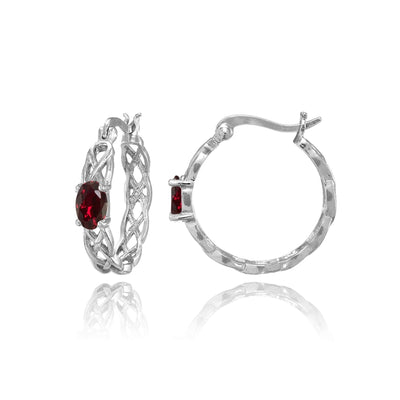 Sterling Silver Created Ruby Celtic Knot Round Hoop Earrings