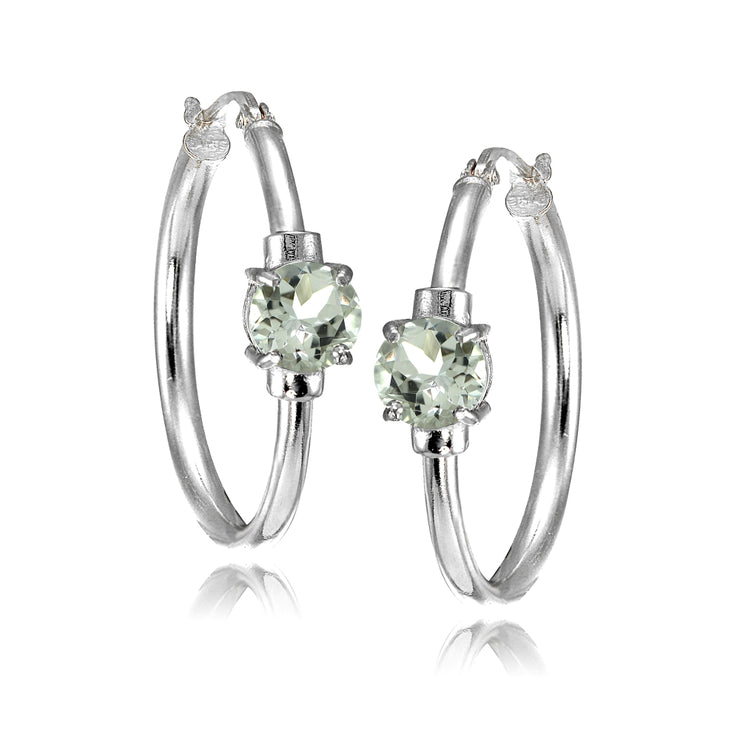 Sterling Silver Aquamarine Solitaire 25mm Hoop Earrings