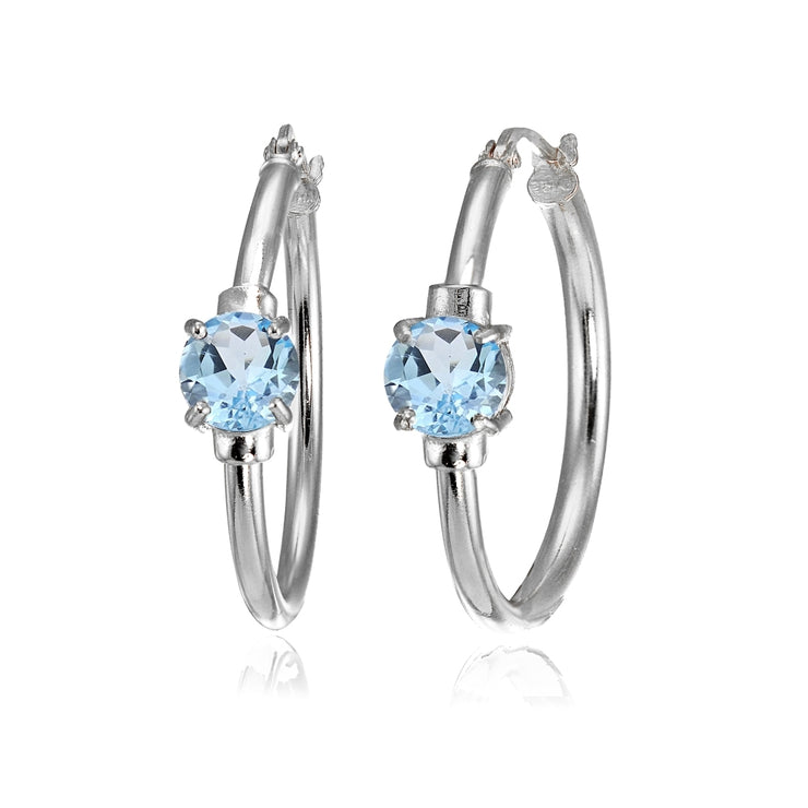 Sterling Silver Blue Topaz Solitaire 25mm Hoop Earrings