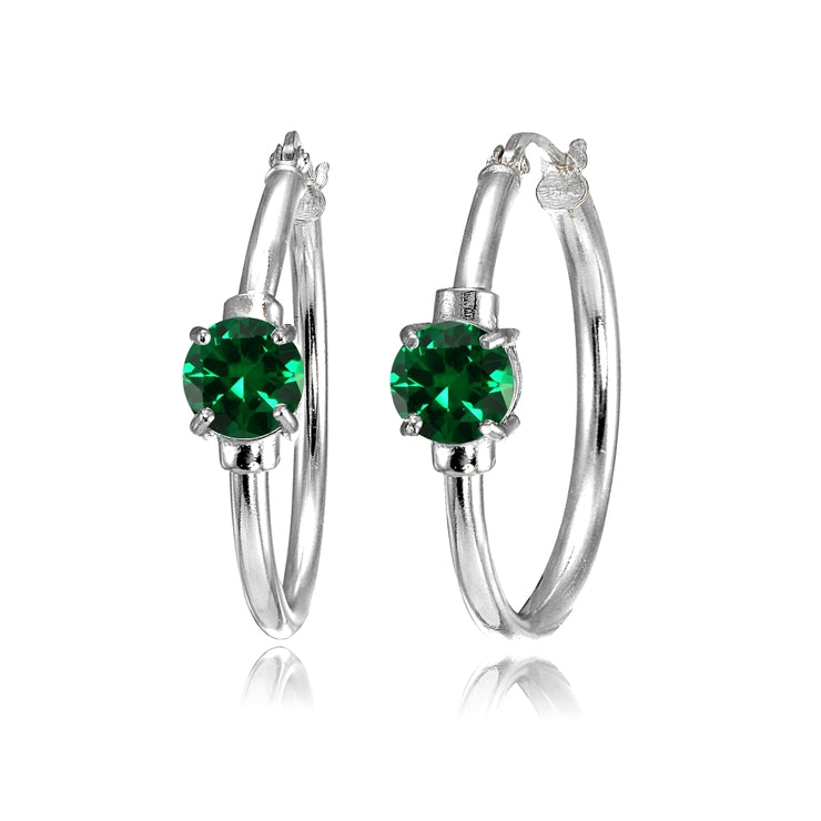 Sterling Silver Simulated Emerald Solitaire 25mm Hoop Earrings