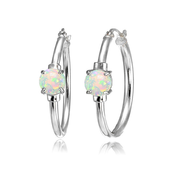 Sterling Silver Created White Opal Solitaire 25mm Hoop Earrings