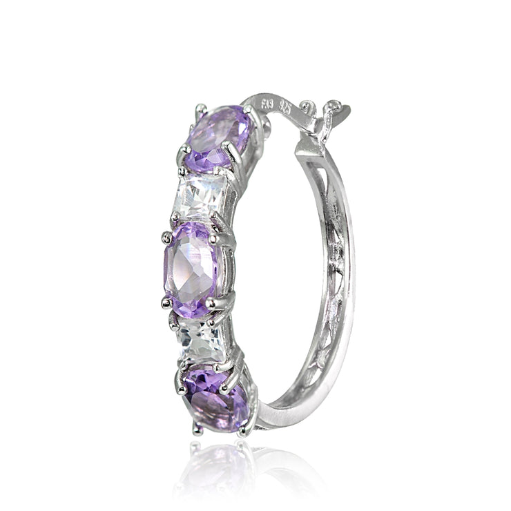 Sterling Silver 6x4mm Oval Amethyst & Princess-cut White Topaz Filigree Hoop Earrings