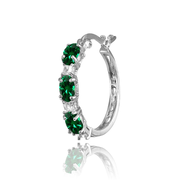 Sterling Silver Oval Created Emerald & Princess-cut White Topaz Filigree Hoop Earrings